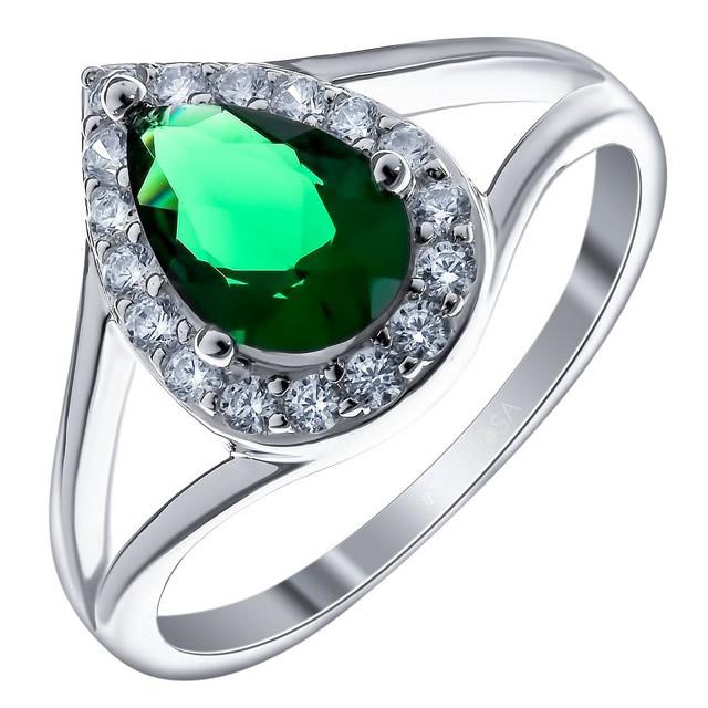 Серебряное кольцо с зеленым Алпанитом
