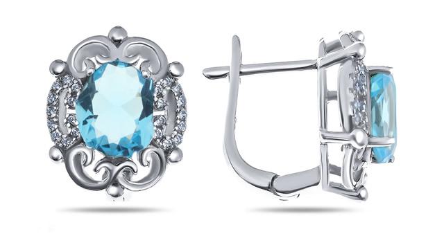 Серебряные серьги с голубыми Алпанитами