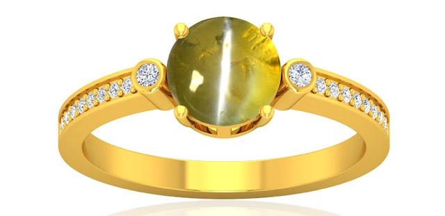 Золотое кольцо с Хризобериллом