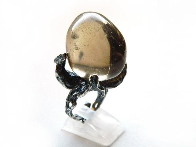 Кольцо с крупным Дымчатым Кварцем
