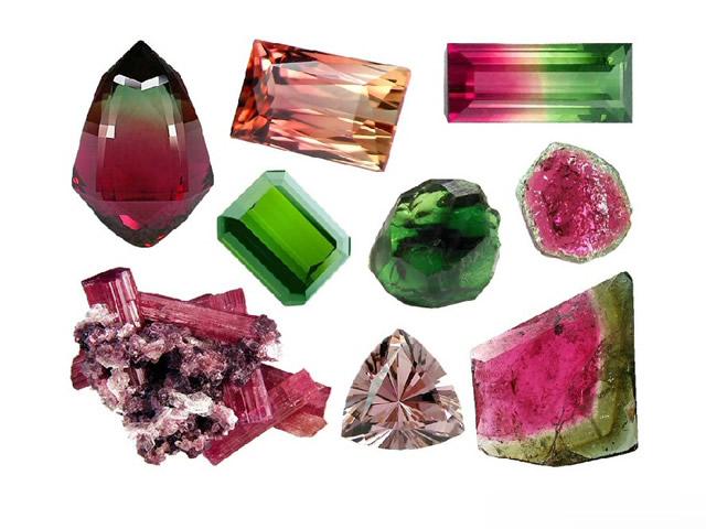 Разноцветные минералы Турмалина