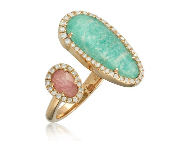 Золотое кольцо с натуральным амазонитом