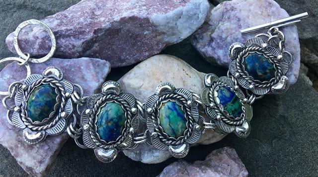 Браслет из серебра и натуральных Азуритов