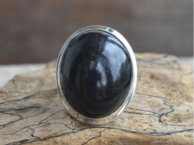Серебряное кольцо с натуральным гагатом