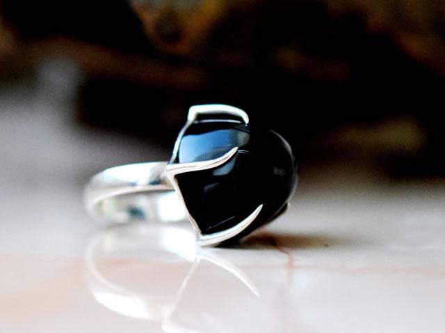 Серебряное кольцо с натуральным морионом